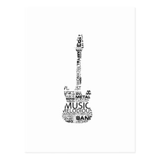 guitar word fill black music image post card