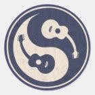 Guitar Yang -blue Classic Round Sticker