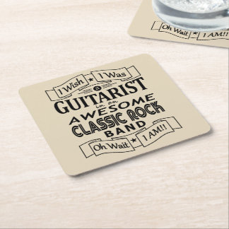 GUITARIST awesome classic rock band (blk) Square Paper Coaster