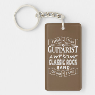 GUITARIST awesome classic rock band (wht) Key Ring