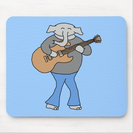 Guitarist. Elephant Playing Electric Guitar. Mousepad