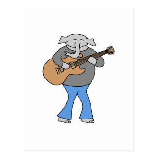 Guitarist. Elephant Playing Electric Guitar. Postcard
