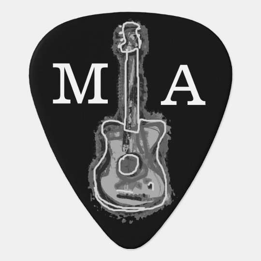 guitarist initials & name, black & white guitar