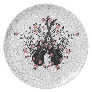 Guitars And Roses  Melamine Plate #1