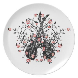 Guitars And Roses  Melamine Plate #6