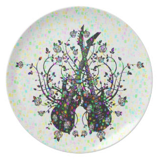 Guitars And Roses  Melamine Plate #7