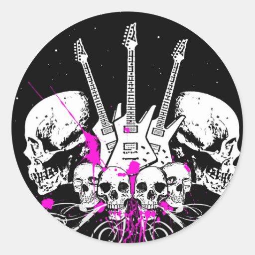 guitars and skulls round sticker
