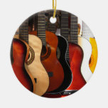 Guitars Double-Sided Ceramic Round Christmas Ornament