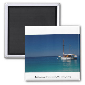 Gulet moored off town beach Olu Deniz Turkey Refrigerator Magnet