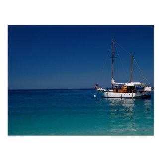 Gulet moored off town beach, Olu Deniz, Turkey Postcard