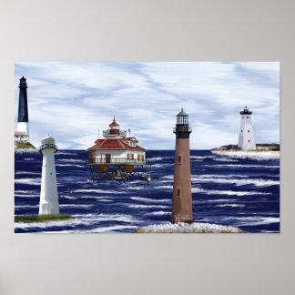 gulf coast lighthouses poster