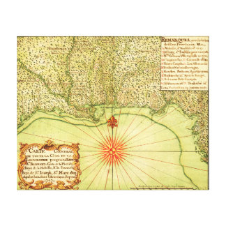 Gulf Coast of the United StatesPanoramic Map Gallery Wrapped Canvas