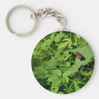 Gulf Fritillary Butterfly-13 Basic Round Button Key Ring
