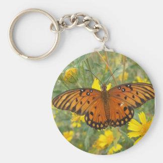 Gulf Fritillary Butterfly Basic Round Button Key Ring