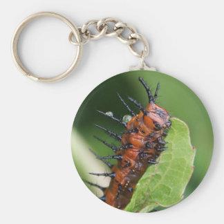 Gulf Fritillary Butterfly Caterpillar Keychain