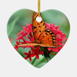 Gulf Fritillary Butterfly Ceramic Heart Decoration