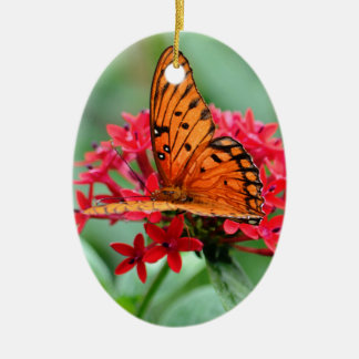 Gulf Fritillary Butterfly Ceramic Oval Decoration