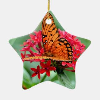 Gulf Fritillary Butterfly Ceramic Star Decoration