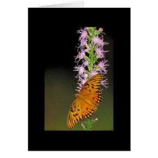 Gulf Fritillary butterfly on Dense Blazingstar Greeting Card