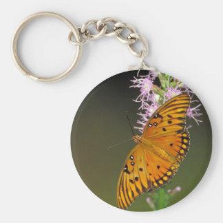 Gulf Fritillary butterfly on Dense Blazingstar Basic Round Button Key Ring