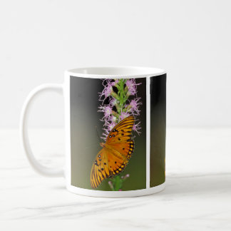 Gulf Fritillary butterfly on Dense Blazingstar Coffee Mugs