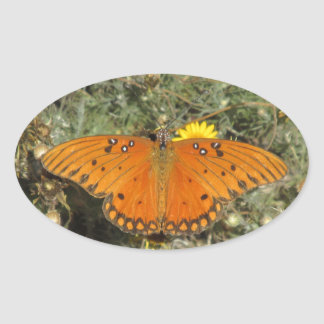 Gulf Fritillary Butterfly Oval Sticker