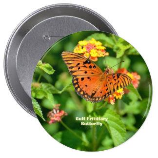 Gulf Fritillary Butterfly Pinback Buttons