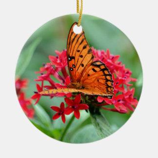 Gulf Fritillary Butterfly Round Ceramic Decoration