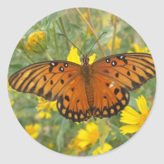 Gulf Fritillary Butterfly Round Sticker