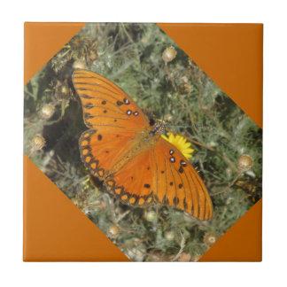 Gulf Fritillary Butterfly Ceramic Tile