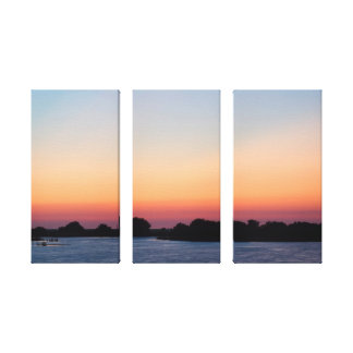 Gulf of Mexico Sunset on Tri-Panel Canvas Gallery Wrap Canvas