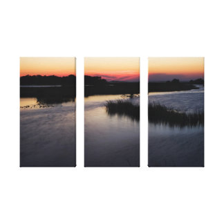 Gulf of Mexico Sunset on Tri-Panel Canvas Stretched Canvas Print