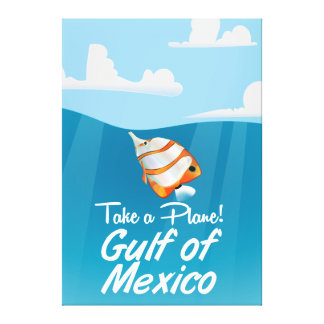 Gulf of Mexico travel poster cartoon. Canvas Print