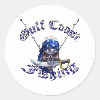 GulfCoast Fishing Pirate Classic Round Sticker