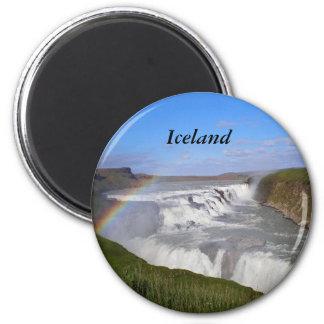 Gulfoss Falls, Iceland 6 Cm Round Magnet
