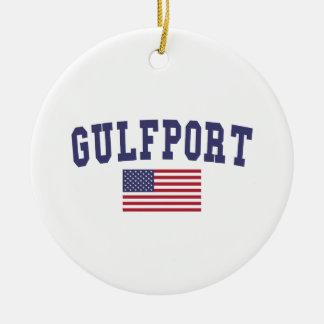 Gulfport US Flag Christmas Ornament