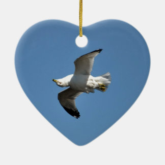 Gull Flying Upside Down Funny Wildlife Photography Ceramic Heart Decoration