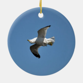 Gull Flying Upside Down Funny Wildlife Photography Round Ceramic Decoration