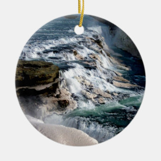 Gull Foss Waterfall Iceland Round Ceramic Decoration