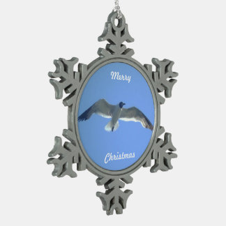 Gull in Flight Pewter Snowflake Decoration