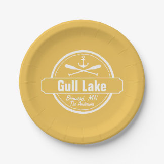 Gull Lake Minnesota anchor, paddles town and name 7 Inch Paper Plate