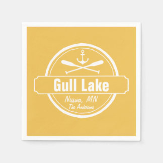 Gull Lake Minnesota anchor, paddles town and name Disposable Serviette