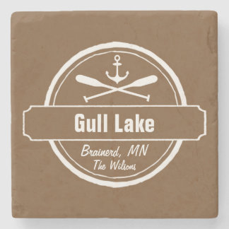Gull Lake Minnesota anchor, paddles town and name Stone Coaster
