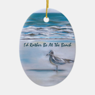Gull on the Shore Ceramic Oval Decoration