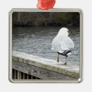 Gull Silver-Colored Square Decoration