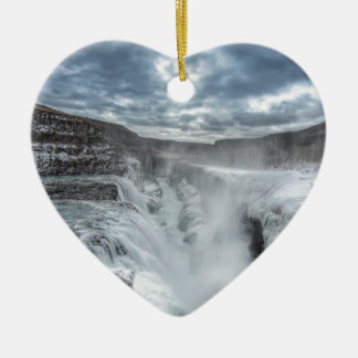 Gullfoss Waterfall, Iceland Ceramic Heart Decoration