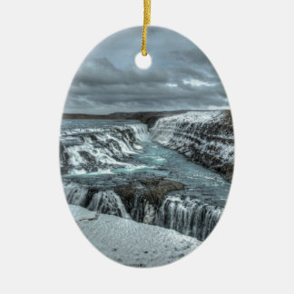 Gullfoss Waterfall, Iceland Ceramic Oval Decoration