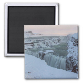 Gullfoss Waterfall in Iceland Square Magnet