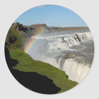 Gullfoss waterfall in summer classic round sticker