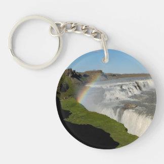 Gullfoss waterfall in summer key ring